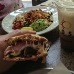 Abobo Chicken Avacado Bowl and the Cubano Melt in foreground