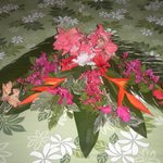 Gorgeous flower decoration on our bed upon arrival
