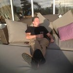 Relaxing in sun after long ride from Scotland