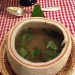 Sweet and Sour Chicken Soup with Hot Basil in Young Coconut Shell