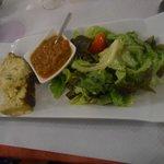 entrée flan de courgette salade. Très bon