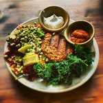 Raw Burger Plate with Cheesy Kale Chips