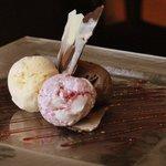 Vanilla, chocolate and raspberry ripple ice cream