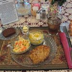 German  Schnitzel with Mashed Potatoes,  Cole Slaw, and Dark Rye Bread