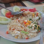 "egg fried rice at ""chilles"" on the road to the beach"