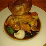 corn-fed chicken, home-made Yorkshire pudding, roasted patatoes, veg and red wine jus