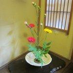 Beautiful flower arrangement in our room