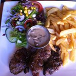 Steak and chips /salad yum yum best in salou town