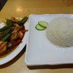 Coconut steamed rice + Prawn sautee with Sambal Olek