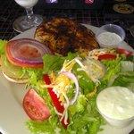 Blackened Mahi-Mahi Sandwich w/salad.