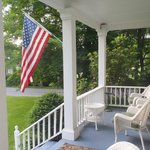 Front porch with view of the river.  Great for morning coffee.