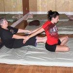 Massage student leraning Thai massage