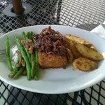 Meatloaf with caramelized onions, green beans w/pecans, herbed potato wedges