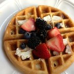 Belgian Waffle after adding only some of the fruit