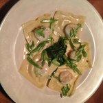 Mahi Mahi and Portobello ravioli with sauteed shrimp spinach and asparagus