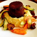 Dr Pepper brazed short ribs over mashed potatoes and seasoned vegetables