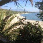 Bagheera. Blick vom Restaurant zum (FKK) Strand