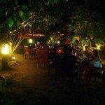 The outdoor garden dining area