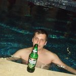 night time at the pool, hot water, needed a cold beer