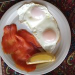 Fried eggs and salmon