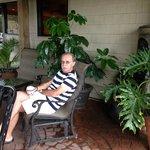 On patio before front door