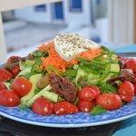 Gorgeous salad that actually used Santorini tomatoes.