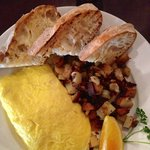 Crab & Pepperjack Cheese Omelette with Potatoes and Toast