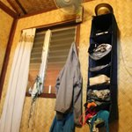 hanging compartments to organize your clothes!