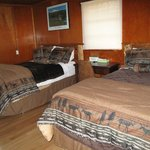 Bedroom at Gwin's Lodge (2 double beds) with moose decor