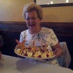 My mom and her huge dessert!