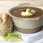 Mushroom & thyme soup and a home baked roll
