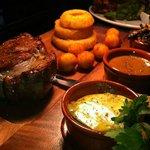 10oz Steak with Garlic Butter,Pepper Sauce,Onions Mushrooms and Noissette Potatos!