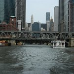 A bridge carrying the 'El' over the Chicago River