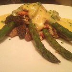 Seared veal medallions with Alaskan king crab, morel mushrooms, asparagus, and hollandaise sauce
