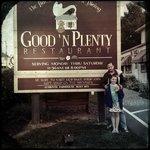 In front of Good N Plenty Restaurant