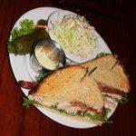 Club sandwich with slaw