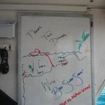 The white board where we held our pre-dive meetings