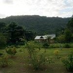Ausblick von der Veranda auf die Berge