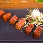 Tataki salmon starter (on our second visit in June)