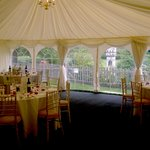 Marquee set up for lunch