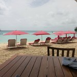 Beach view from the dining deck at Bajan Blue