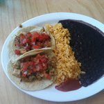 Tacos Al Carbon (boring) with extremely boring rice and beans.