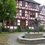 Half timber house - statue of miner (ore)