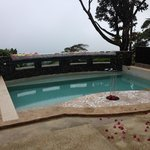 The pool drained a bit for the wedding day!