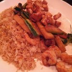 My meal rice with veggie and combo shrimp and chicken