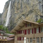 Hotel with waterfall right behind