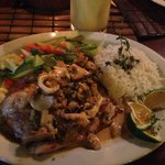 Seafood over mahi mahi