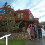 family photo infront of the Montanna Restaurant, Calgary, AB, Canada