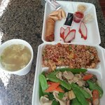 Individual dinner combination - Snow Pea Chicken, the complete meal for $12.95 before tax
