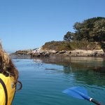 The cliff that provides protection for San Simeon Cove